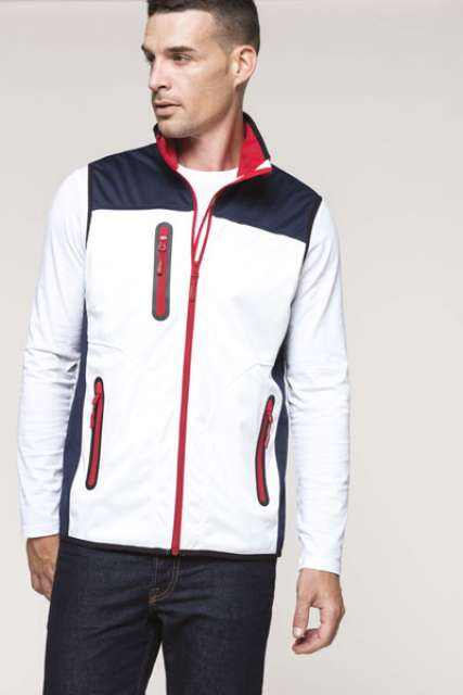 FÉRFI TRI-COLOUR SOFTSHELL BODYWARMER